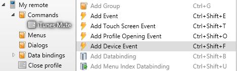 Device events setup