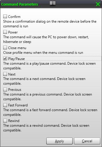 Command parameters dialog
